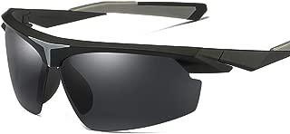 LUKEEXIN Semi-Rimless Men's Sports Sunglasses Polarized UV400 Protection Driving Cycling Running Fishing Golf (Color : Black)