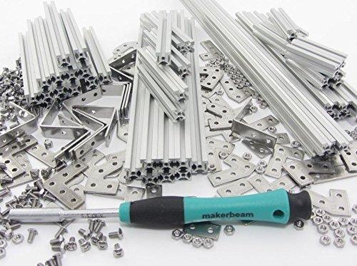 Kit di avviamento per profili aste, Makerbeam 10 x 10, alluminio naturale