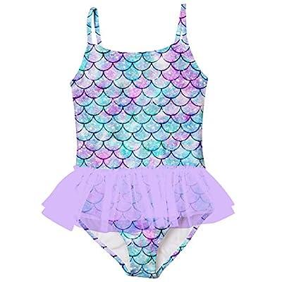 swimsobo Toddler Girls Swimsuits One Piece Bikini Mermaid Fish Scales Printed Bathing Suit Adjustable Strap Swimwear Ruffle Tulle Skirt for Hawaiian Holiday Summer Beach 3-4T