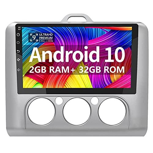 AWESAFE Android 10.0 [2GB+32GB] Radio Coche 9 Pulgadas con Pantalla Táctil para Ford Focus Mk2 2004-2011, Autoradio con Bluetooth/WiFi/GPS/FM/USB, Apoyo Mandos del Volante, Aparcamiento