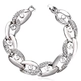 U7 Women Crystal Bracelet Platinum Plated Thick 14MM Link Chain Rhinestone Embellished Bracelet (7 Inch)