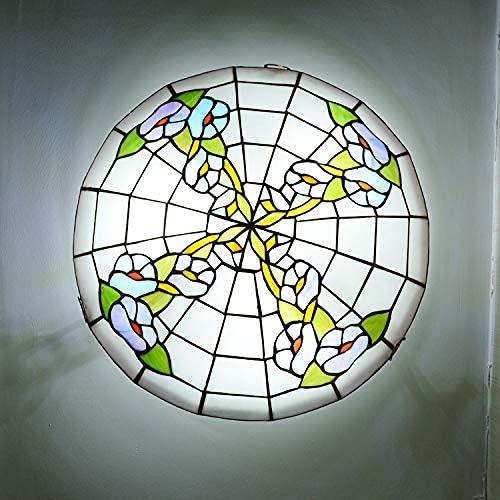 Lámpara de Techo rústica de Montaje Empotrado, lámpara de Pantalla de Vidrio Tiffany Vintage, Accesorio de iluminación Redondo, para Comedor, Cocina, Dormitorio, Isla, luz de 16 Pulgadas (40