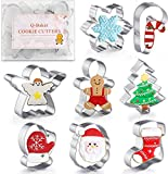 Q-Baker Cookie Cutters 8Pcs Winter Christmas Cookie Cutter Set Stainless Steel with Gingerbread