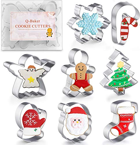 Q-Baker Cookie Cutters 8Pcs Winter Christmas Cookie Cutter Set with Decorating Instructions Stainless Steel with Gingerbread Men,Christmas Tree,Snowflake, Candy Cane, Angel, Santa Face,Stocking,Mitten