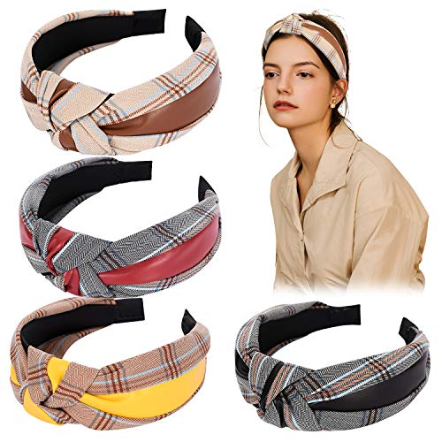 Mehayi 4 Pieces Wide Artificial PU Leather Turban Knot Headband Plain Fashion Elastic Hairband Head Wrap Headwear Hair Hoops for Women and Girls, 4 Colors