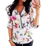 Elesoon Blusa de gasa de manga larga para mujer con diseño de lunares, mariposa, colibríes, con cremallera, suelta, de gasa, A-blanco, 42
