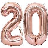 2 Globos Número 20 Oro Rosa, Globo de Papel Aluminio Gigante Numero 20 Globo 100cm con Cinta 40 ' Globo Inflable de Helio para Decoración de Fiesta de Cumpleaños Fiesta de Graduación