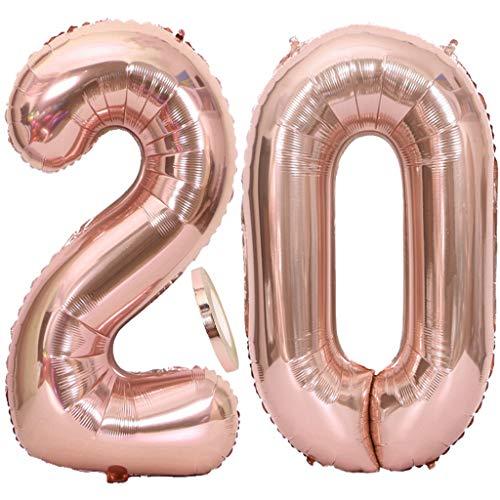 2 Globos Número 20 Oro Rosa, Globo de Papel Aluminio Gigante Numero 20 Globo 100cm con Cinta 40