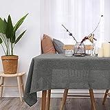 Deconovo Leinenoptik Tischdecke Wasserabweisend Tischwäsche Lotuseffekt 130×280 cm Grau - 2