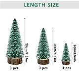 KATELUO 9Stück Mini Grün Tannenbaum,Künstlicher Weihnachtsbaum Miniatur,Mini Weihnachtsbaum Künstlicher,Weihnachtsbaum Schnee Klein mit Holzsockel,für Weihnachtsdeko/Tischdeko/DIY/Schaufenster,3Größen - 5