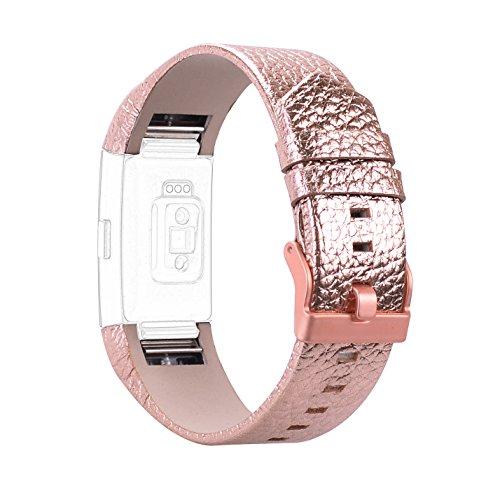 Armband für Fitbit Charge 2, Rosa Schleife Fitbit Leder Replacement Wrist Band Watchband Fitness Strap Uhrenarmband Ersatzband mit Metallschließe für Fitbit Charge 2 Rose Gold