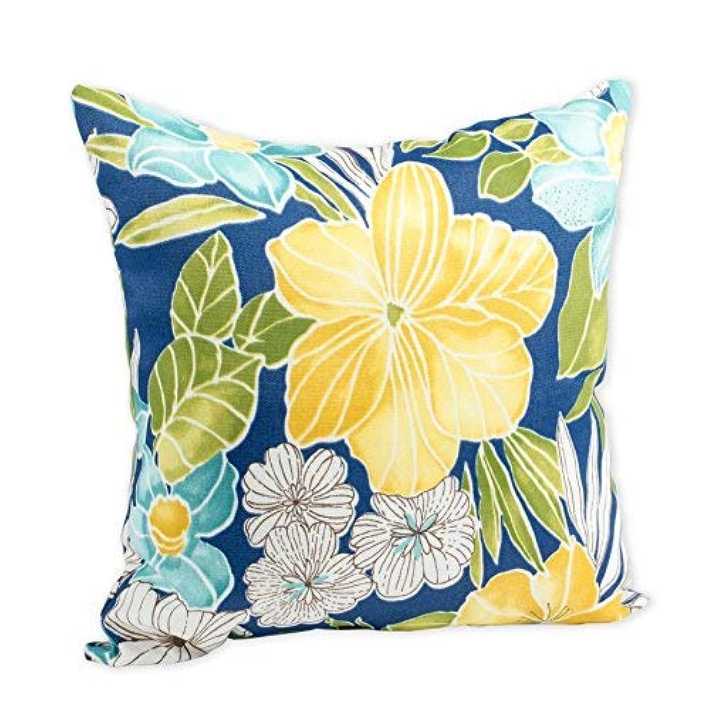 任命するレパートリー虐殺Clemens Sunblue Flor Yellow Hibiscus 16 x 16 Indoor Outdoor Throw Pillow [並行輸入品]