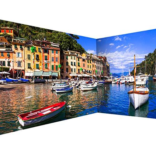 decomonkey Fototapete Italien Landschaft 550x250 cm Eckfototapete Design Tapete Fototapeten Tapeten Wandtapete moderne Wand Schlafzimmer Wohnzimmer Meer Natur