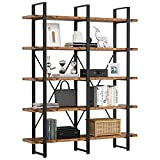IRONCK Industrial Bookshelf and Bookcase Double Wide 5 Tier, Large Open Shelves, Wood and Metal Bookshelves for Home Office Furniture, Easy Assembly, Rustic Brown