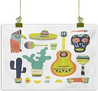 Mannwarehouse Fiesta Chinese Classical Oil Painting Symbols from Mexico Guitar Face Aztec Mask Tequila Skull Musical Instruments Taco for Living Room Bedroom Hallway Office 24