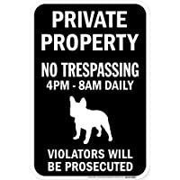 PRIVATE PROPERTY ブラックマグネットサイン:フレンチブルドッグ シルエット 英語 私有地 無断立入禁止