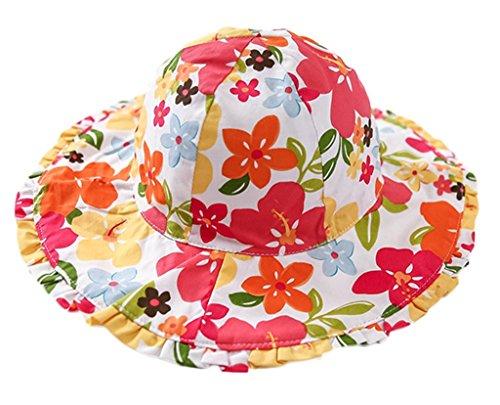 Bigood Chapeau Bord Large Bébé Coton Bonnet Eté Plage Voyage Soleil Fleur Pliable Tour de Tête 50cm