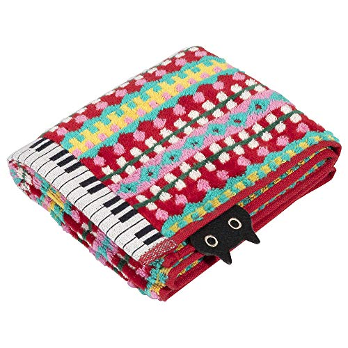 東京 西川 フェイスタオル フェイスタオル 綿100% マタノアツコ ぴこぴこピアノ MEME 鍵盤 猫 ふわふわ パイル レッド TT20124006R