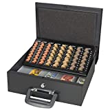 Large Cash Box with Key Lock, Parrency Portable Metal Money Box with Double Layer & 2 Keys for Security