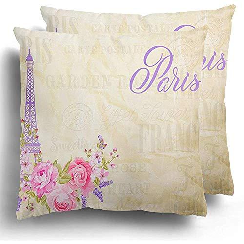 GodYo kussenslopen 1 pak roze French Eiffeltoren Simbol met bloeiende voorjaarsbloemen grijze teksttekens Tour Red Paris