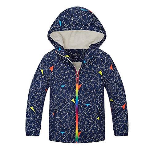 OMSLIFE Jungen Jacke mit Gefütterte Kinder Wander Jacket Wasserdicht Softshelljacke Warm Regenjacke Übergangsjacke Outdoor Mantel Jacket (Blau 1, Höhe 140-150cm(Etikett XXL))
