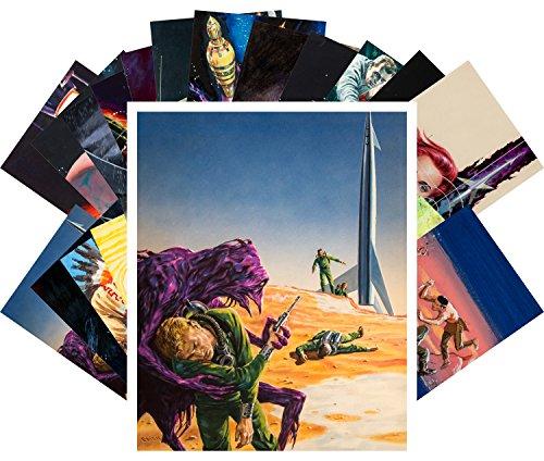 Postcard Set 24pcs Vintage SciFi Aliens Book Comic Art by Edmund Emsh Emshwiller