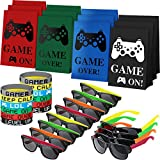 36 Pieces Video Game Party Favors Set Include 12 Pieces Gamer Party Bags, 12 Pieces Video Game Wristbands Bracelets and 12 Pieces Neon Sunglassesfor Game Birthday Party Supplies