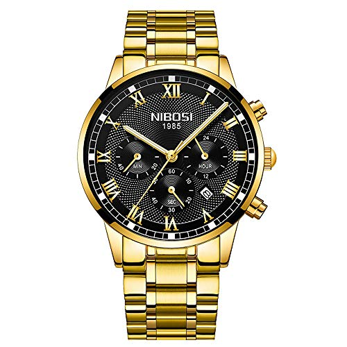 Relojes Hombre Cronógrafo Reloj de Pulsera Calendario Números Romanos con Correa de Acero Inoxidable, Oro Negro