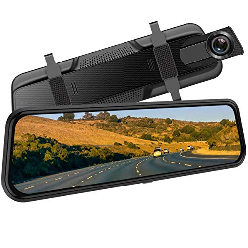 Backup Camera, 10Inch 1080P HD Mirror Dash Camera, Rear View Front and Rear Dual Lens with Loop...