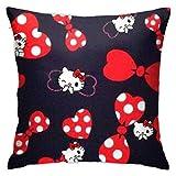 Throw Pillow Case Hello Kitty Y Lazo Rojo Tirar Almohada Cojin Transpirables Funda Decorativa para Cojín Exquisito Fundas Cojín para Cumpleaños Sofá Oficina 45X45Cm