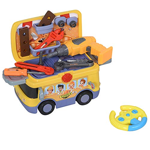 HOMCOM Maletín de Herramientas de Autobús para Niños de +3 Años Juego de Trabajo Diseño 3 en 1 con Control Remoto Efectos de Luz Sonido 40,2x22,8x28,8 cm Amarillo