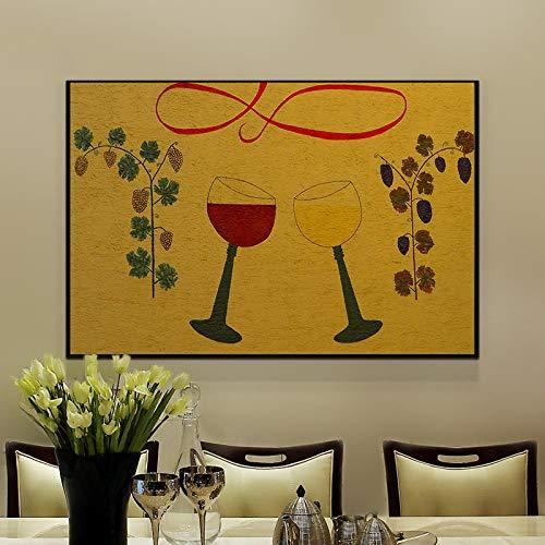 Moderne Tasse Leinwand Malerei Wandkunst Malerei Aquarell Malerei Wohnzimmer Kunstwerk Druck Poster Home Dekoration,Rahmenlose Malerei,40x80cm