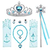 T-Trees Princess Dress Up Accessories Gift Set for Elsa Cinderella Crown Scepter Necklace Bracelet Earrings Rings Gloves (7pcs)