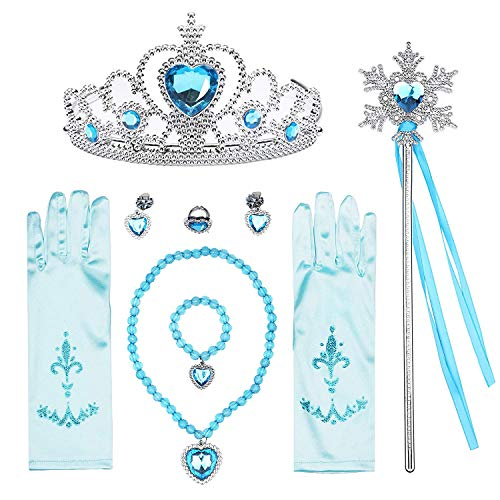 T-Trees Princess Dress Up Jewelry Dress Up Set for Girls Jewelry Accessories with Crowns, Necklaces, Wands, Rings, Earrings Bracelets (7pcs)