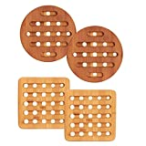 Home Intuition 4 Piece Bamboo Trivet Set, (4-Pack) Square and Round Bamboo Hot Pads Trivet