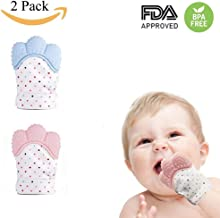 KACOOL Silicone Baby Teether, Soft Teething Mitten Self Soothing Teether & Teething Pain Relief Toy Glove, BPA-Free Natural Remedy for Infants & Toddlers 3-6 Months (Blue&Pink,2 Pack)