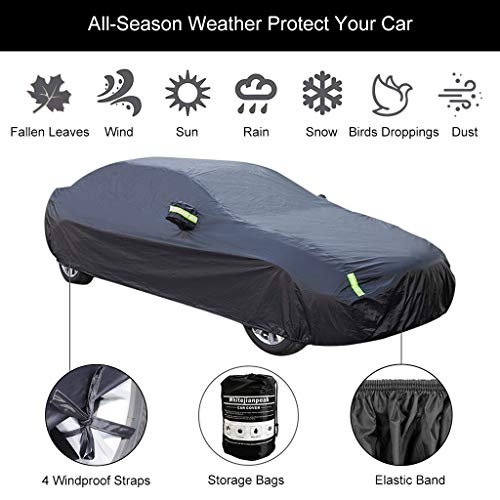 Car Cover Compatible with Mercedes-Benz GLS 450 SUV 2017-2021, All Weather Waterproof Breathable Full Car Covers with Windproof Straps Outdoor Car Tarpaulin with Reflective Strips