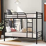 Twin Over Twin Metal Bunk Bed with Removable Ladder, Heavy Duty Bed Frame with Safety Guard Rails for Kids Teens Adults, Black