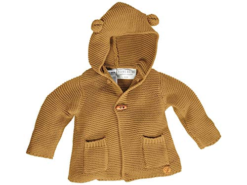 Bio Baby und Kinder Strickjacke mit Kapuze 100% Bio-Baumwolle (KbA) GOTS zertifiziert, Curry, 74/80