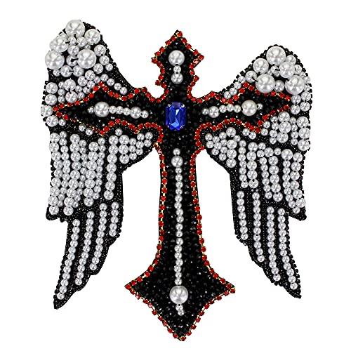 1 pieza hecha a mano con cuentas de cristal corazón de diamantes de imitación de diseño parches coser en insignia apliques ropa decorada accesorios de costura (I)