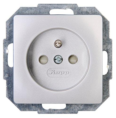 Kopp 921120085 Paris Mitten-Schutzkontakt-Steckdose 1-Fach mit erhöhtem Berührungsschutz, Silber, 250 V