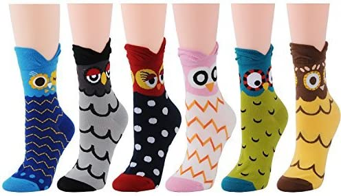 Deer Mum Women Cotton Cute Owl Casual Fun Novelty Fashion Crew Socks