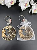 12Pcs Baptism Pink Girl Wood Angel Moon Design Keychain baptism Favors with Angels for Boy and Girl Recuerdos de Bautizo With Organza Bags