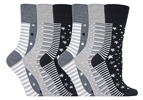6 Pairs Ladies Sock Shop Gentle Grip Socken mit Wabenoberteil 4-8 uk, 37-42 Eur