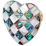 Amogeeli 4pcs Heart Shaped Colorful Shell Drawer Cabinet Knobs with Screws, Decorative Furniture Pull Handle Knobs