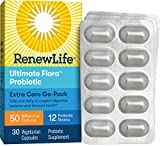 Renew Life Adult Probiotic - Ultimate Flora Probiotic Extra Care Go Pack, Probiotic Supplement - 50 Billion - 30 Vegetable Capsules (Packaging May Vary)