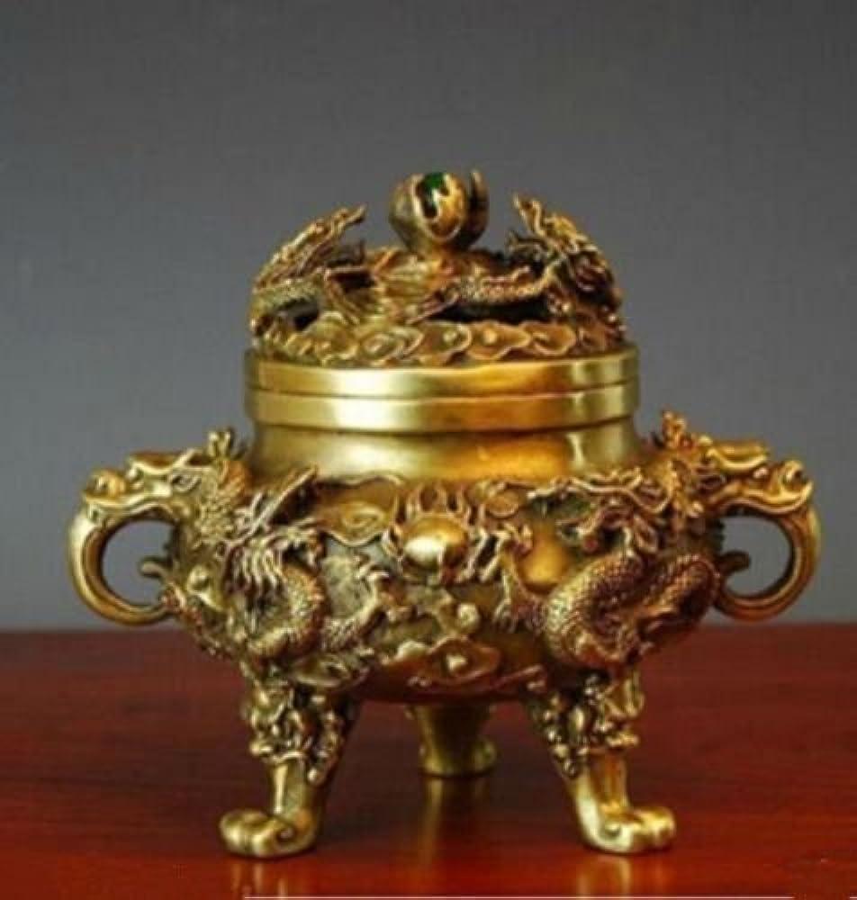 好意ヒゲクジラゴミ箱コレクティブル中国の真鍮の九ドラゴンズ九龍香のバーナー (2)
