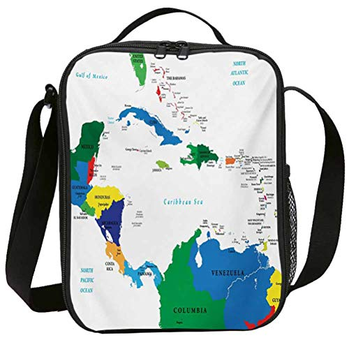 Fashion Lunch Bags with Zipper Insulated Lunchbox for School Girls Map Central America and