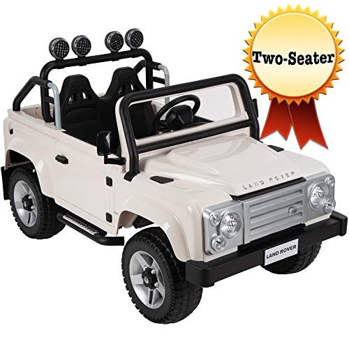 Huffy Kid Electric Ride On 12V Land Rover SUV White, Two Seater, Crisp White (17489P)