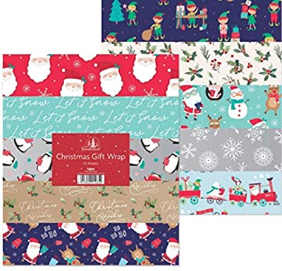 10 x Large Sheets of Christmas Gift Wrap - 50cm x 70 cm - 10 Designs - 1485